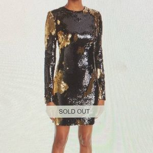 Naeem Khan Long-Sleeve Sequin Mini Dress Size 14